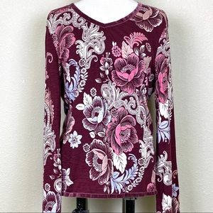 CHICO'S Zenergy Paisley & Floral Top in Burgundy